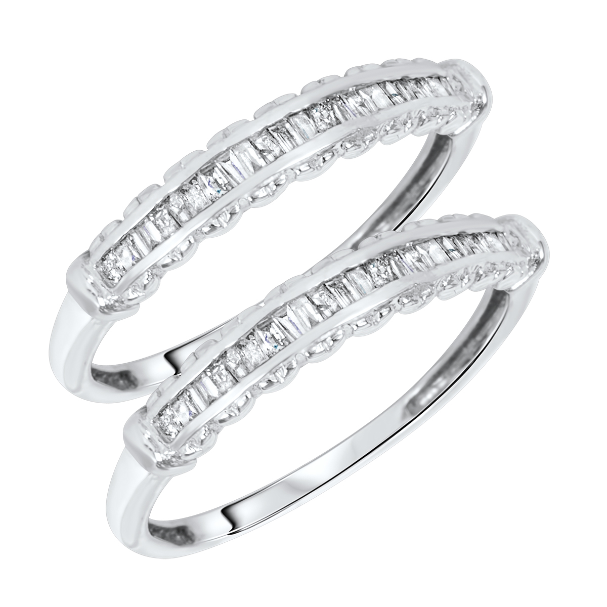 1/2 Carat T.W. Baguette Cut Ladies Same Sex Wedding Band Set 14K White Gold