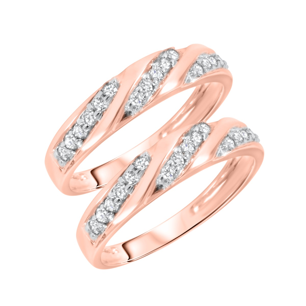 1/2 Carat T.W. Round Cut Ladies Same Sex Wedding Band Set 14K Rose Gold