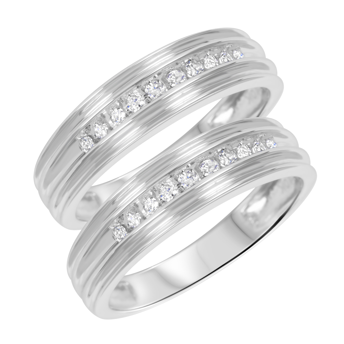 1/5 CT. T.W. Round Cut Ladies Same Sex Wedding Band Set 10K White Gold