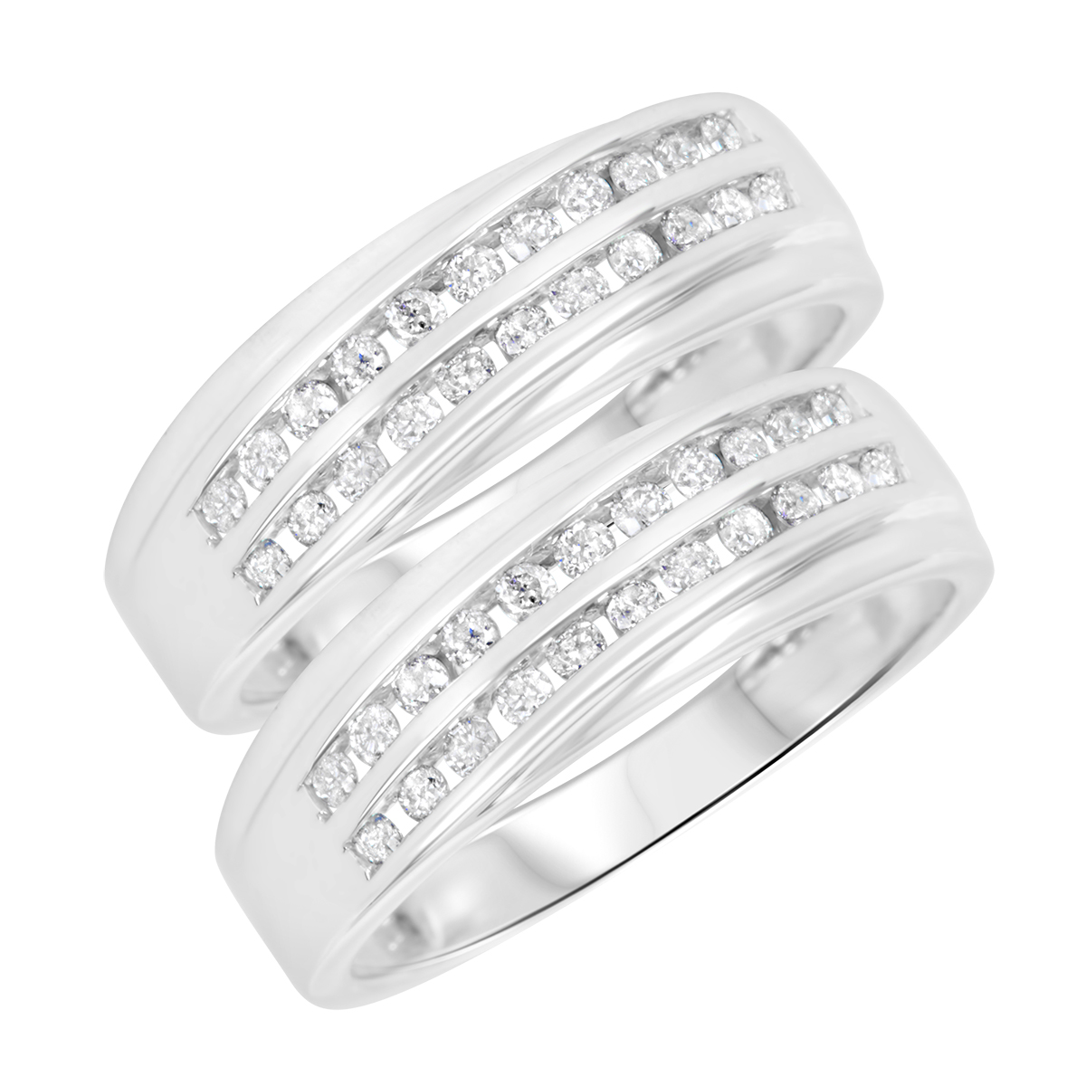 5/8 Carat T.W. Round Cut Ladies Same Sex Wedding Band Set 10K White Gold