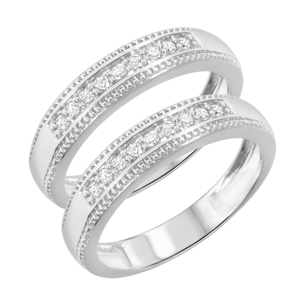 1/4 Carat T.W. Round Cut Ladies Same Sex Wedding Band Set 10K White Gold