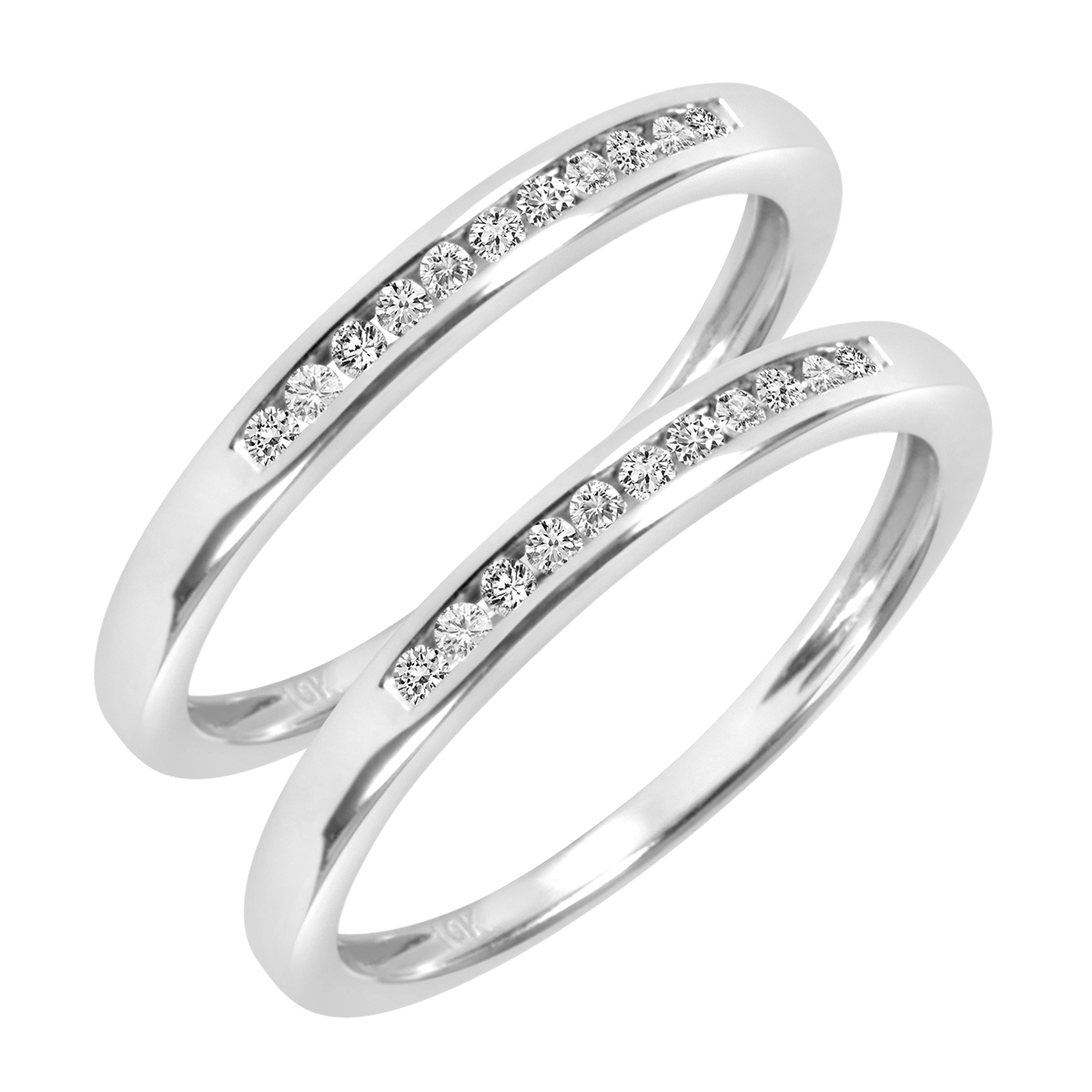 1/5 CT. T.W. Round Cut Ladies Same Sex Wedding Band Set 14K White Gold