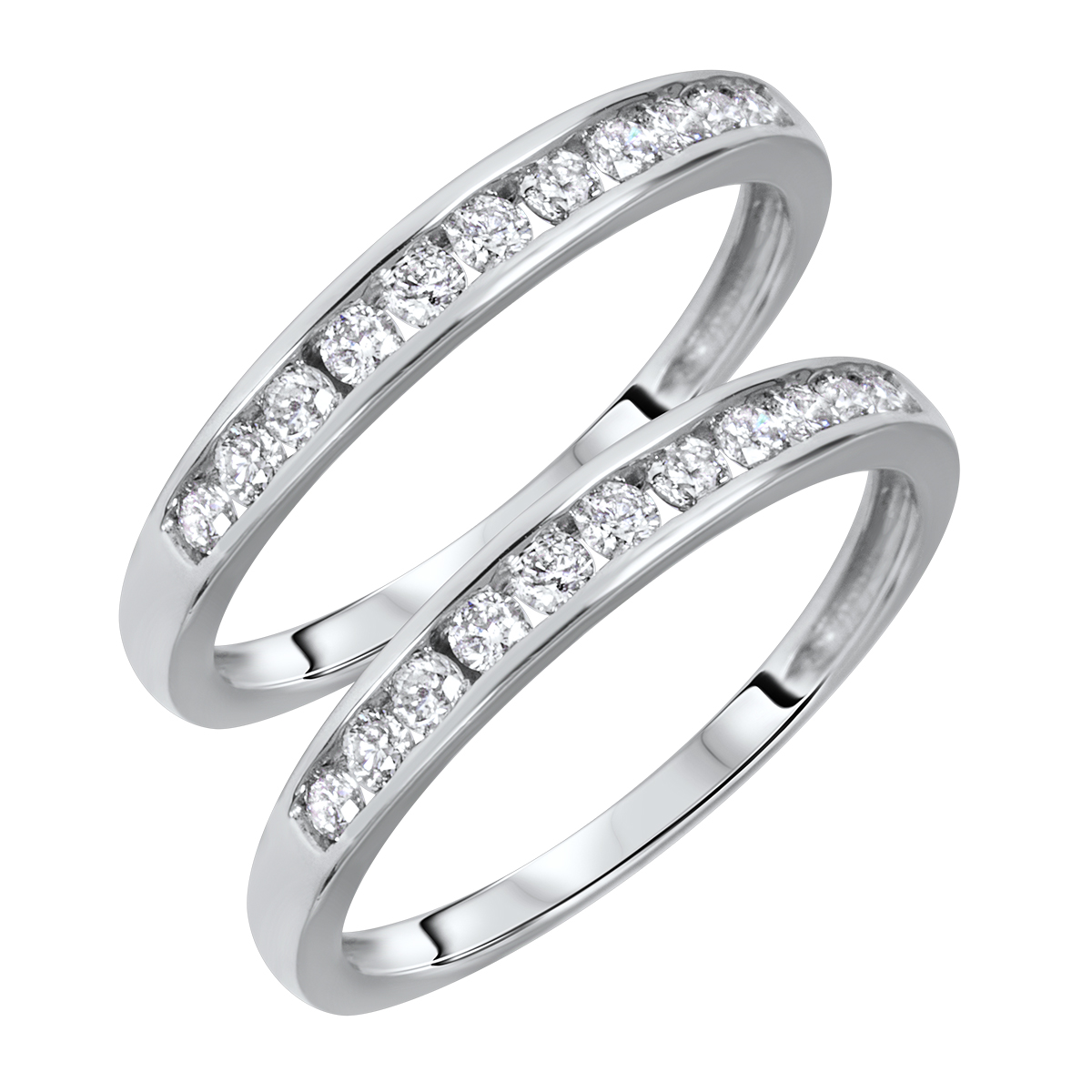 1/2 Carat T.W. Round Cut Ladies Same Sex Wedding Band Set 14K White Gold