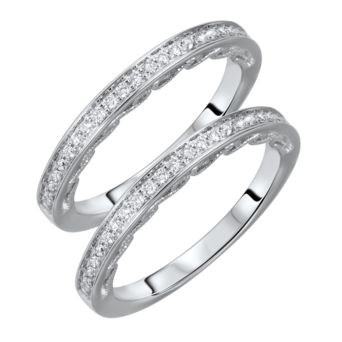 1/3 Carat T.W. Round Cut Ladies Same Sex Wedding Band Set 14K White Gold