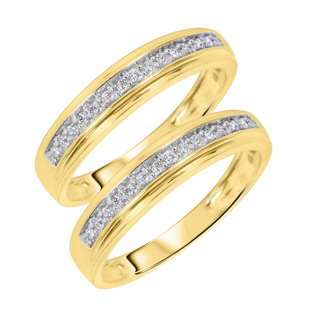 3/8 CT. T.Y. Round Cut Mens Same Sex Wedding Band Set 14K Yellow Gold