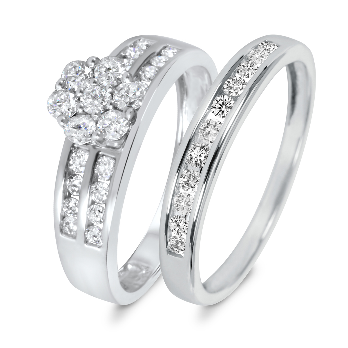 T.W. Diamond Womenu0027s Bridal Wedding Ring Set 10K White Gold