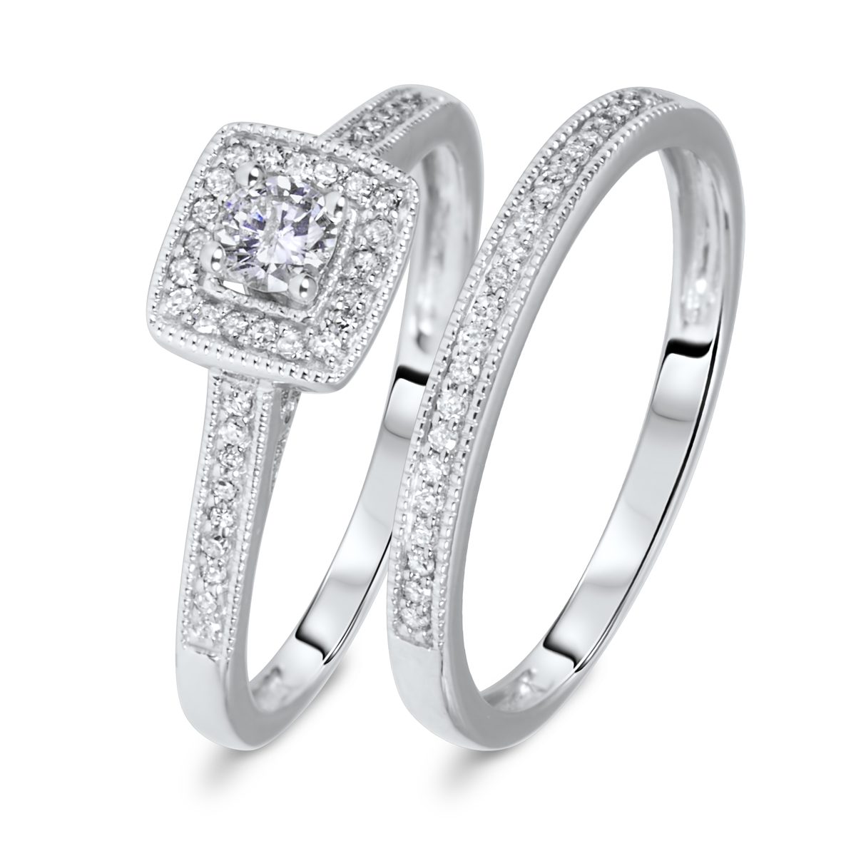 1 3 Ct T W Round Cut Diamond Ladies Bridal Wedding Ring Set 10k