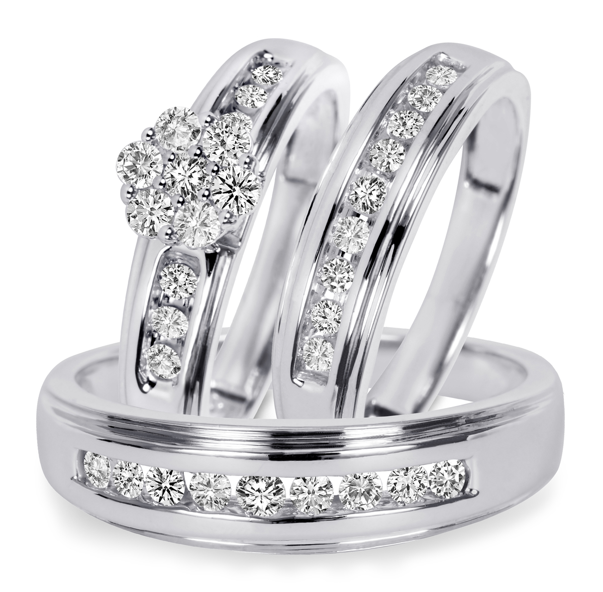 T W Diamond Trio Matching Wedding Ring Set 10k White Gold
