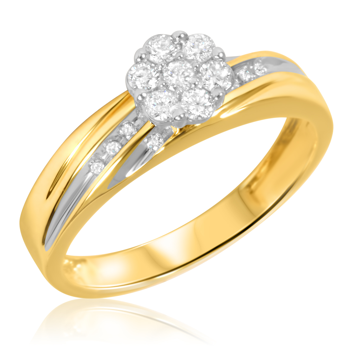 1 4 Carat T W Diamond Ladies Engagement Ring 10k Yellow Gold