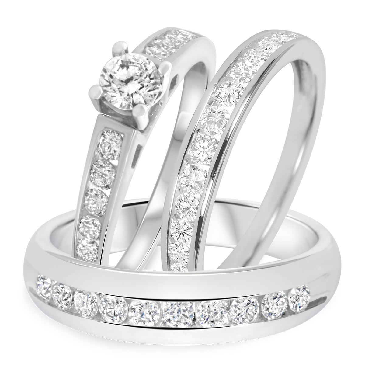 tw diamond trio matching wedding ring set 14k white gold - White Gold Wedding Rings Sets