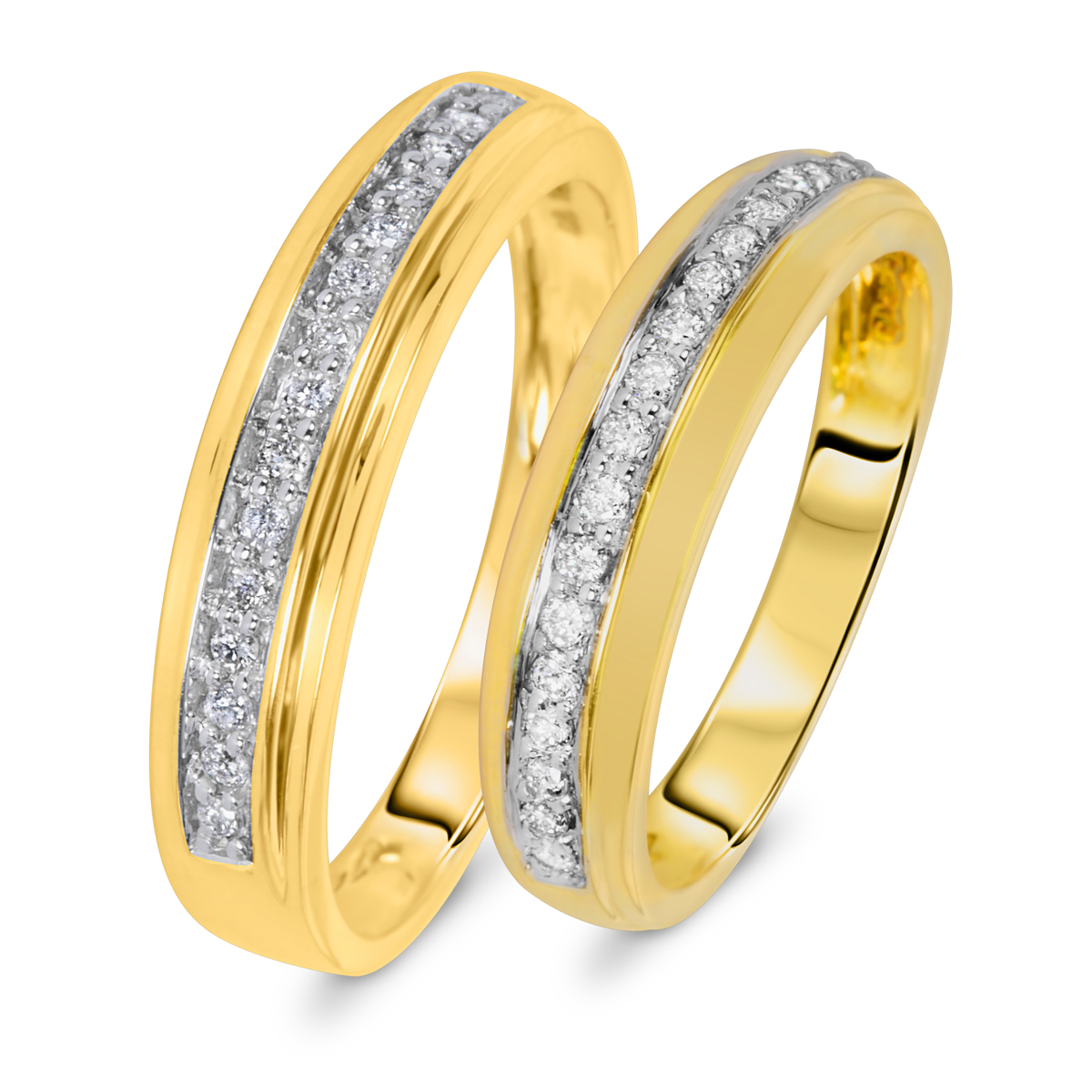 13 Carat TW Diamond Matching Wedding Rings Set 14K Yellow Gold