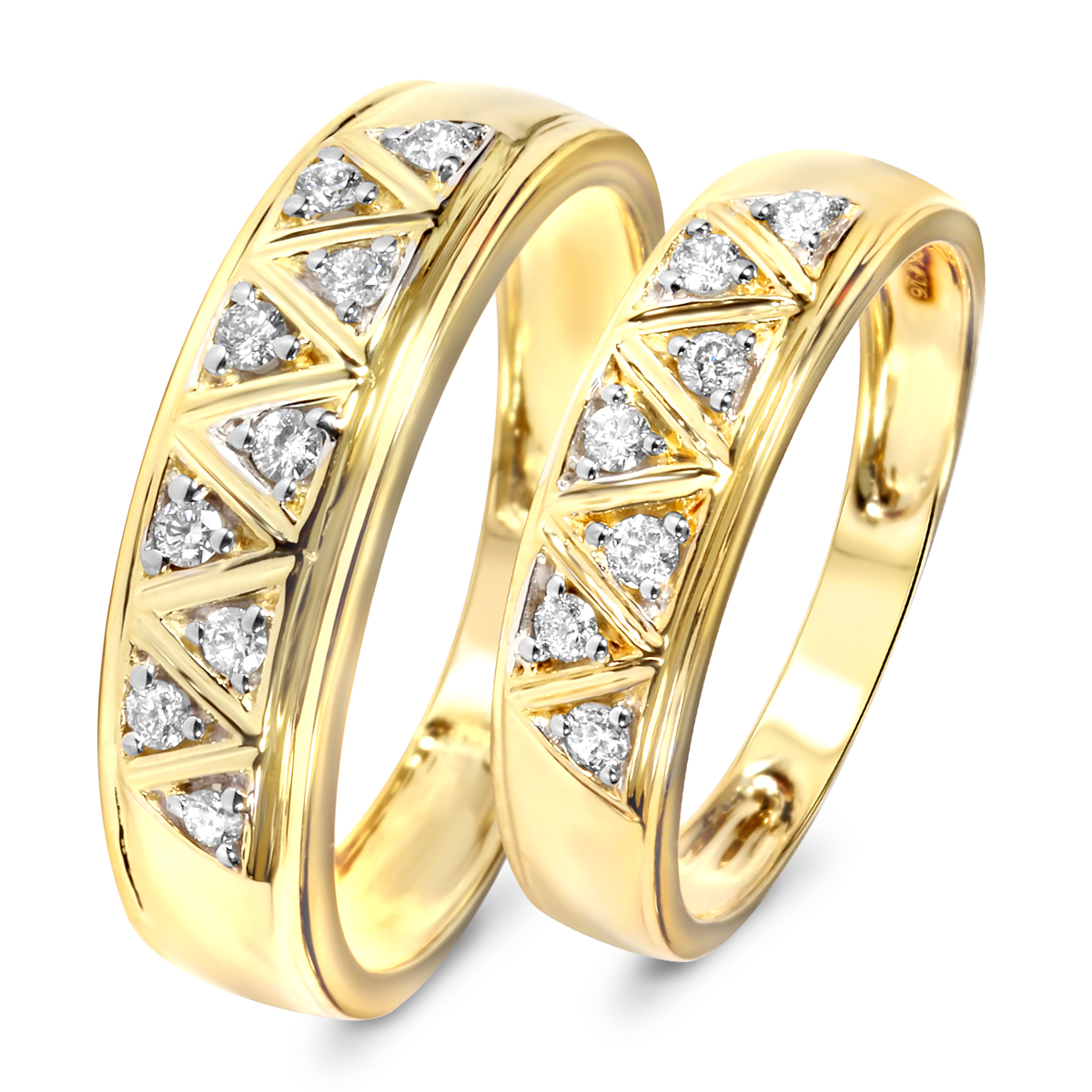 1 3 Carat T W Diamond His And Hers Wedding Band Set 14k Yellow Gold
