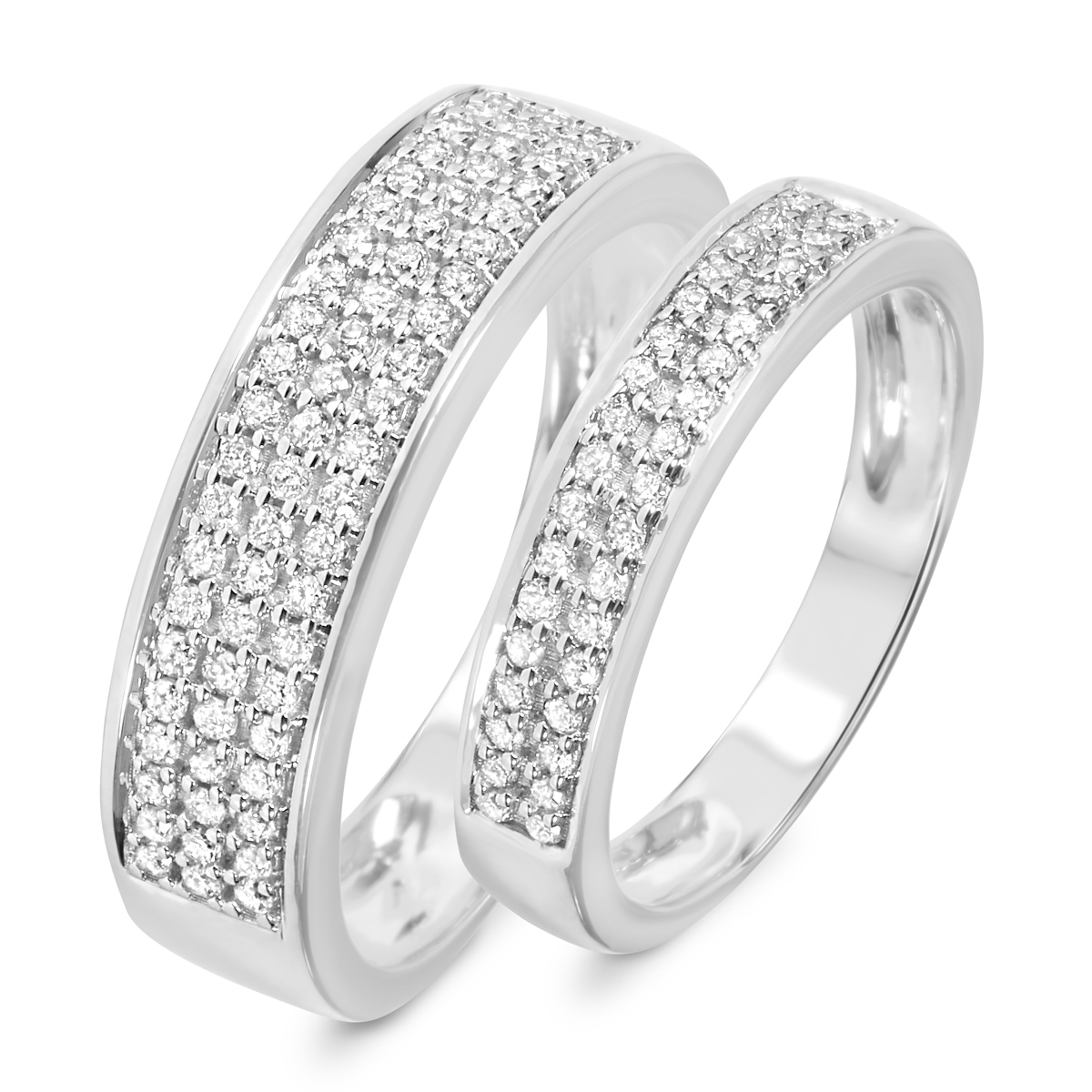 1/2 ct. t.w. diamond his and hers wedding rings 14k white gold