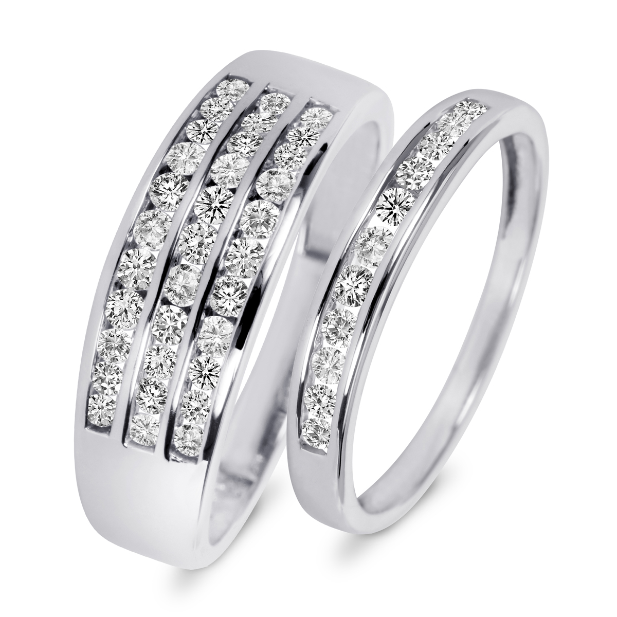 7 8 carat t w diamond his and hers wedding rings 14k white gold