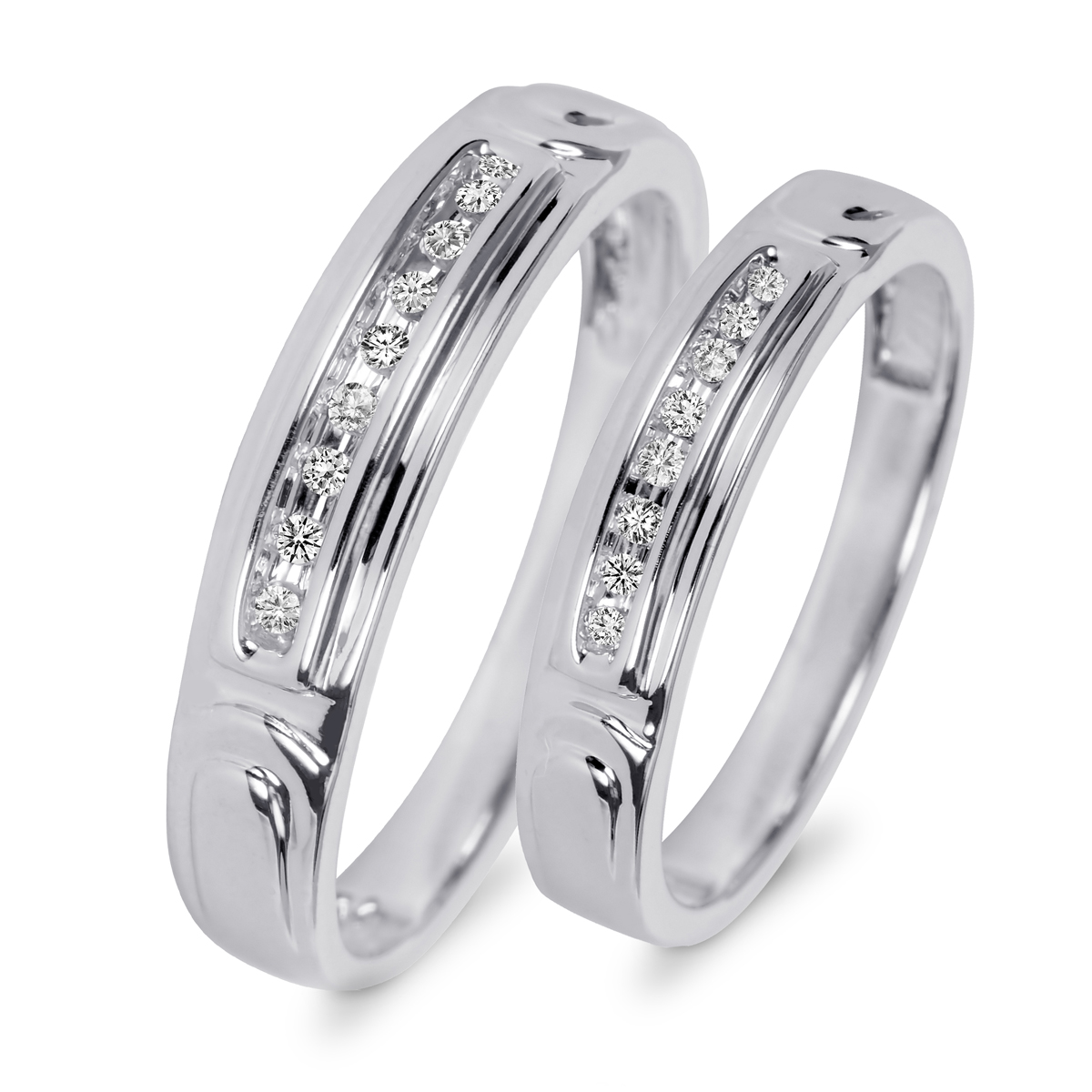 TW Diamond His And Hers Wedding Rings 10K White Gold