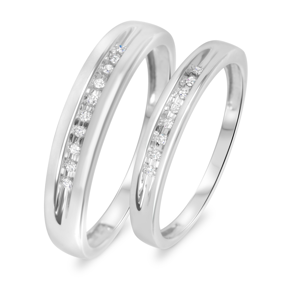 His And Her Wedding Bands.1 10 Carat T W Diamond His And Hers Wedding Rings 10k White Gold