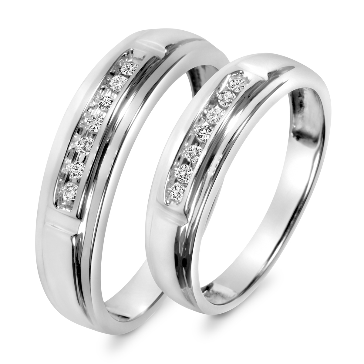 His And Hers Matching Wedding Bands Cheap.1 8 Carat T W Diamond His And Hers Wedding Band Set 10k White Gold
