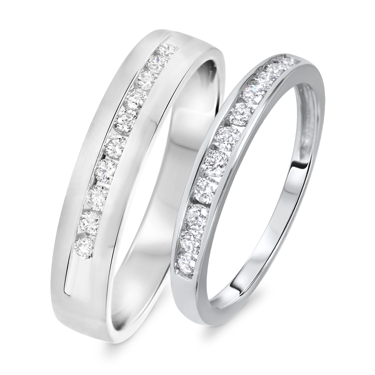 1/2 carat t.w. round cut diamond his and hers wedding band set 14k