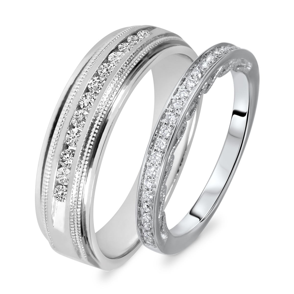 38 carat tw round cut diamond his and hers wedding band set 10k white gold - His Hers Wedding Rings