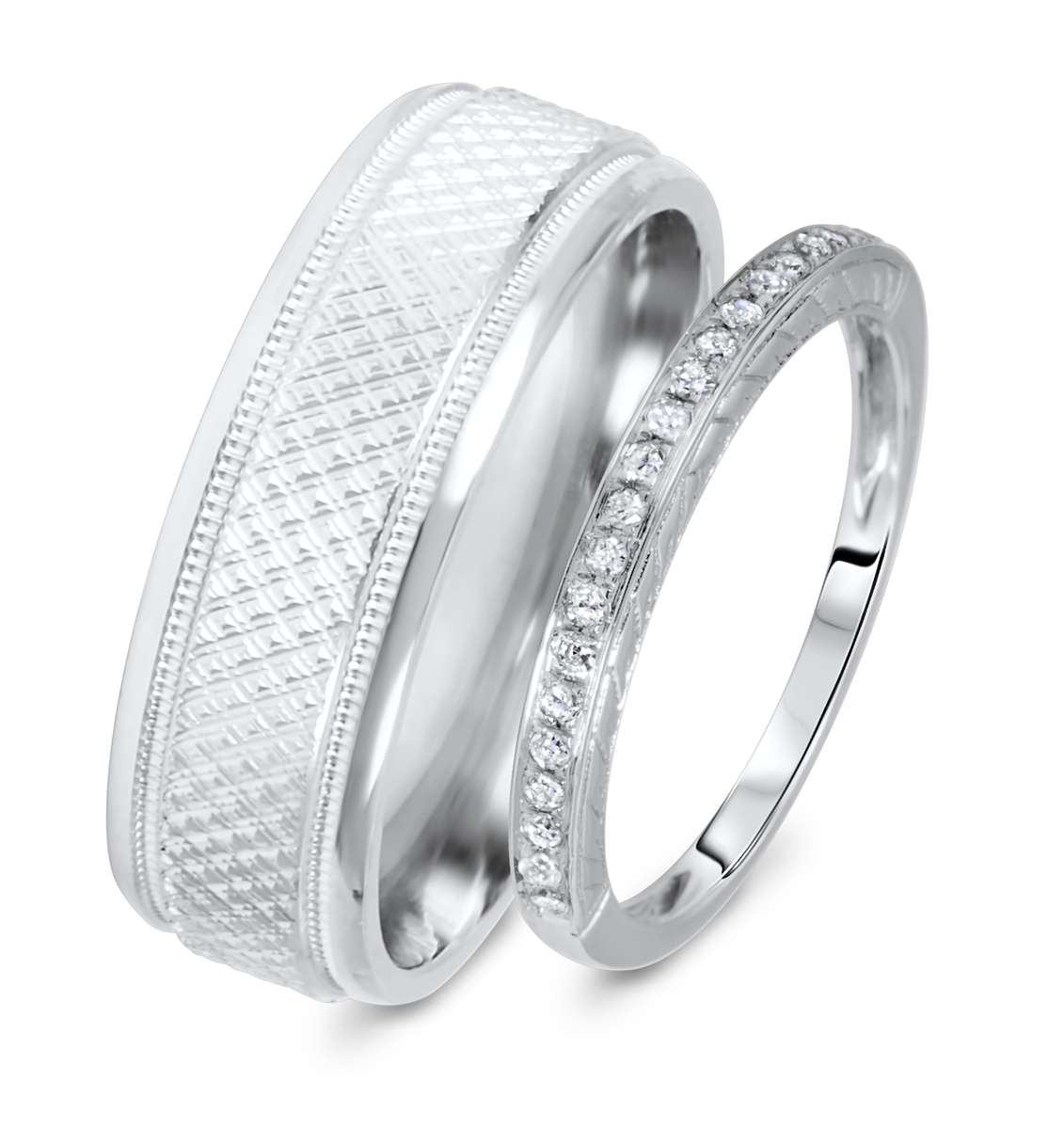 1 8 Carat TW Rounds Cut Diamond His And Hers Wedding Band Set 10K White Gold