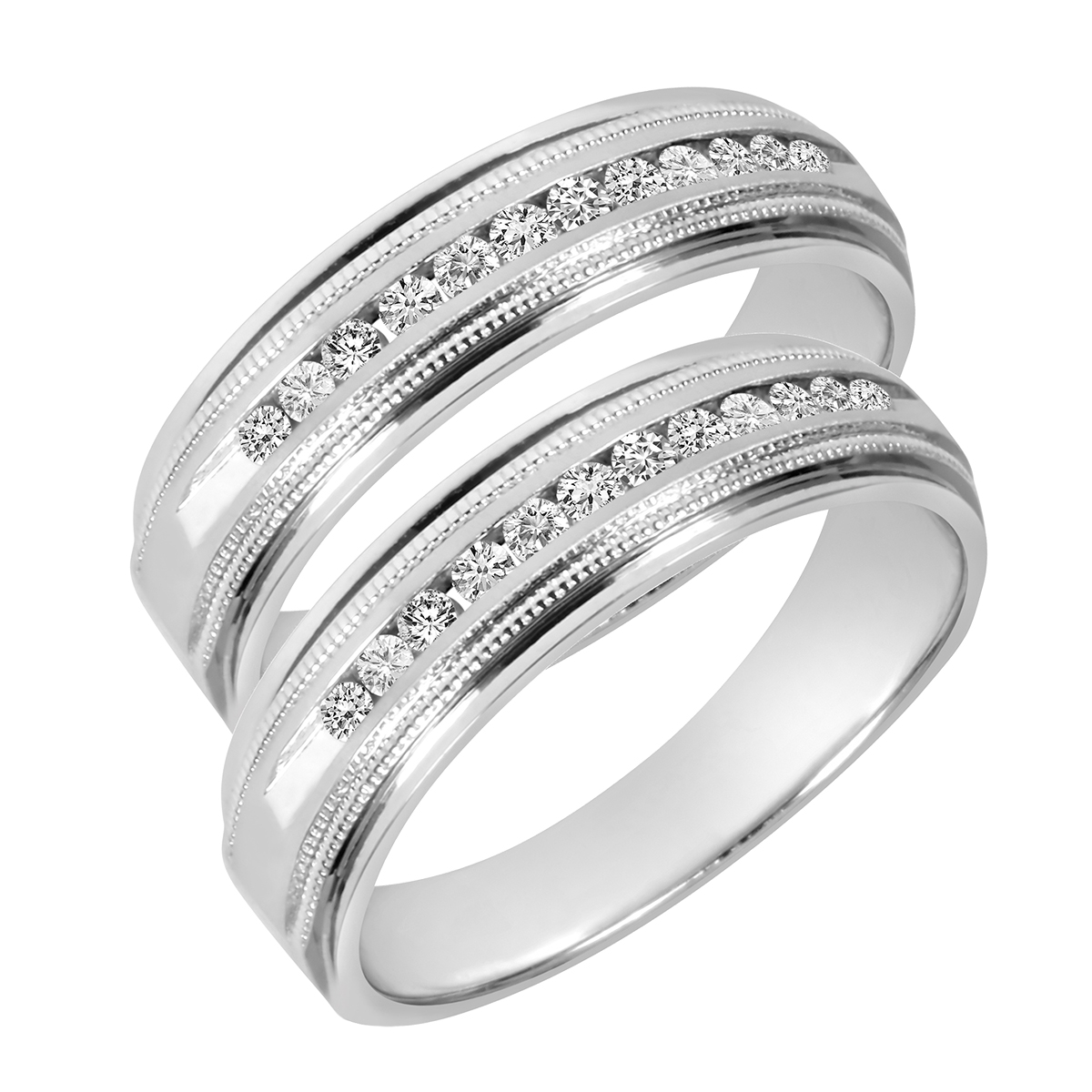 tw round cut mens same sex wedding band set 14k white gold - Same Sex Wedding Rings