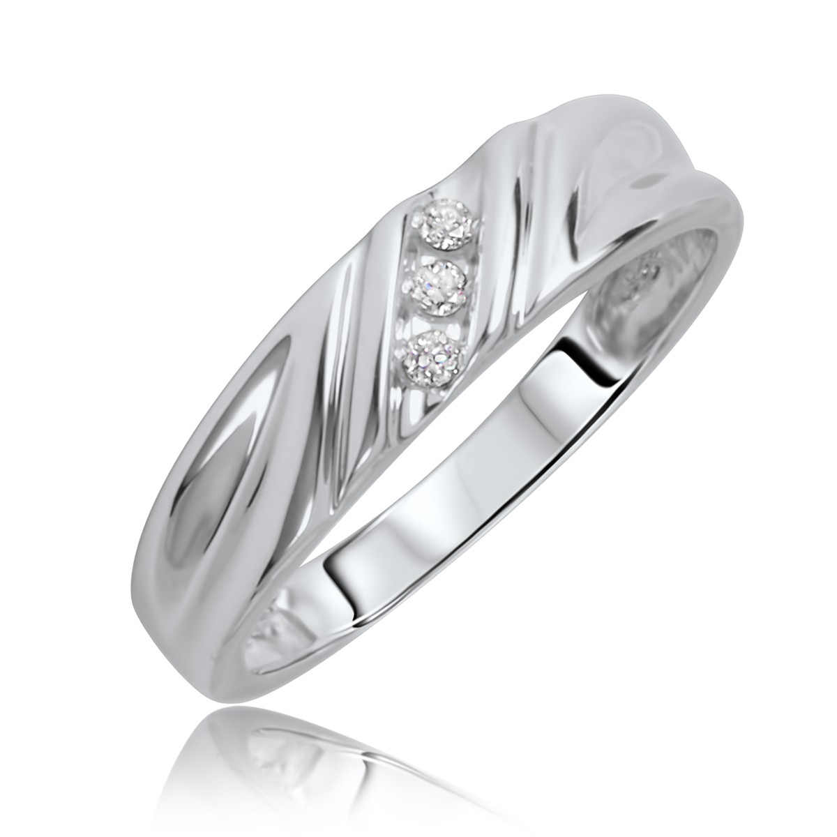 110 ct tw diamond his and hers wedding rings 14k white