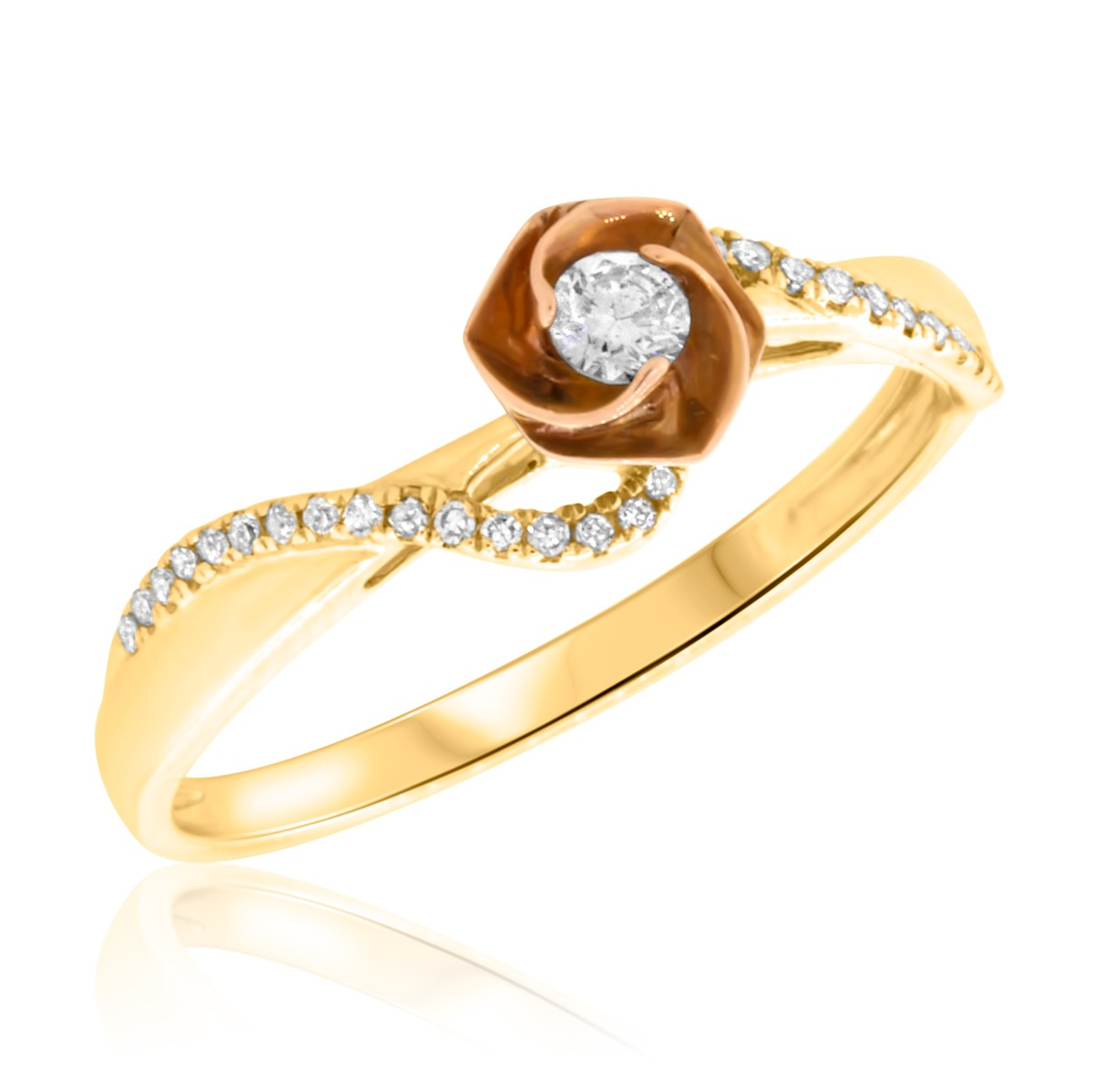 1 6 ct t w engagement ring 10k yellow gold