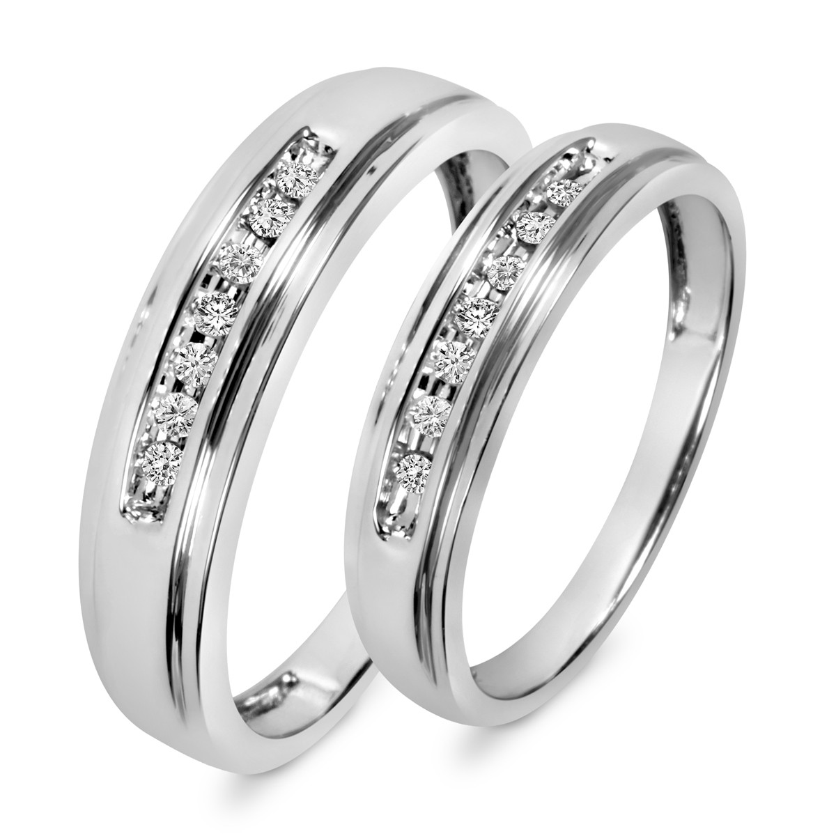 Wedding Band 10k White Gold: 1/6 Carat T.W. Diamond His And Hers Wedding Band Set 10K