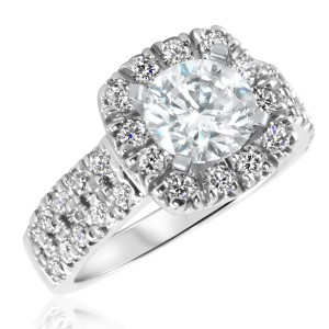 2 1/10 CT. T.W. Diamond Ladies Engagement Ring 14K White Gold