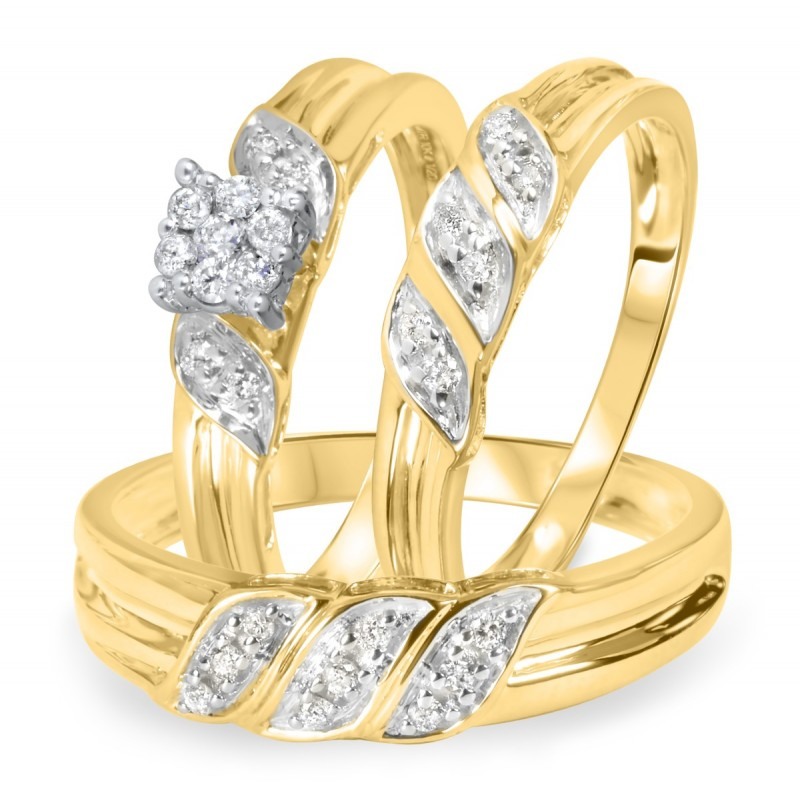 1 4 Carat Diamond Trio Wedding Ring Set 10k Yellow Gold