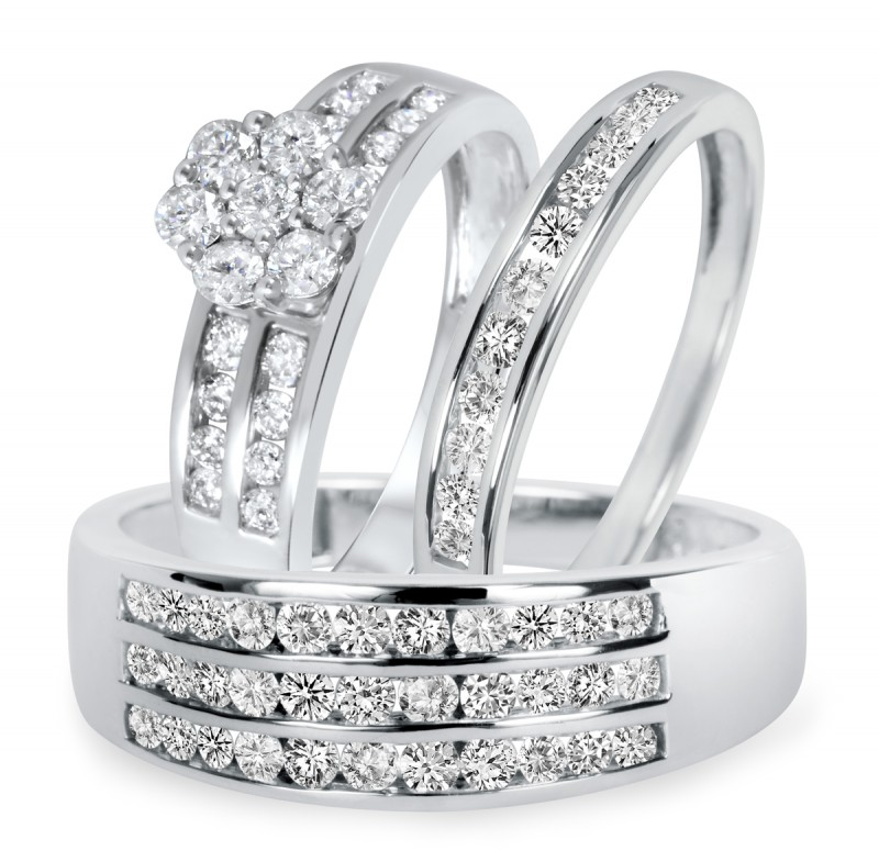 948734db1c1 1 1 2 CT. TW Diamond Trio Matching Wedding Ring Set 10K White Gold