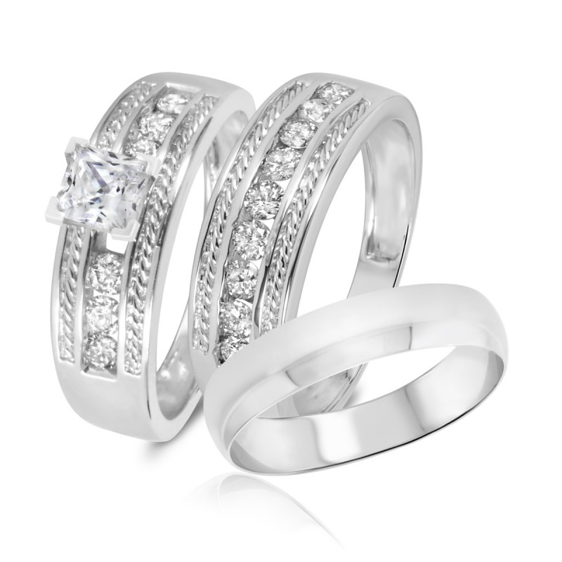 544b0231be6 Trio Wedding Ring Set. 10K White Gold