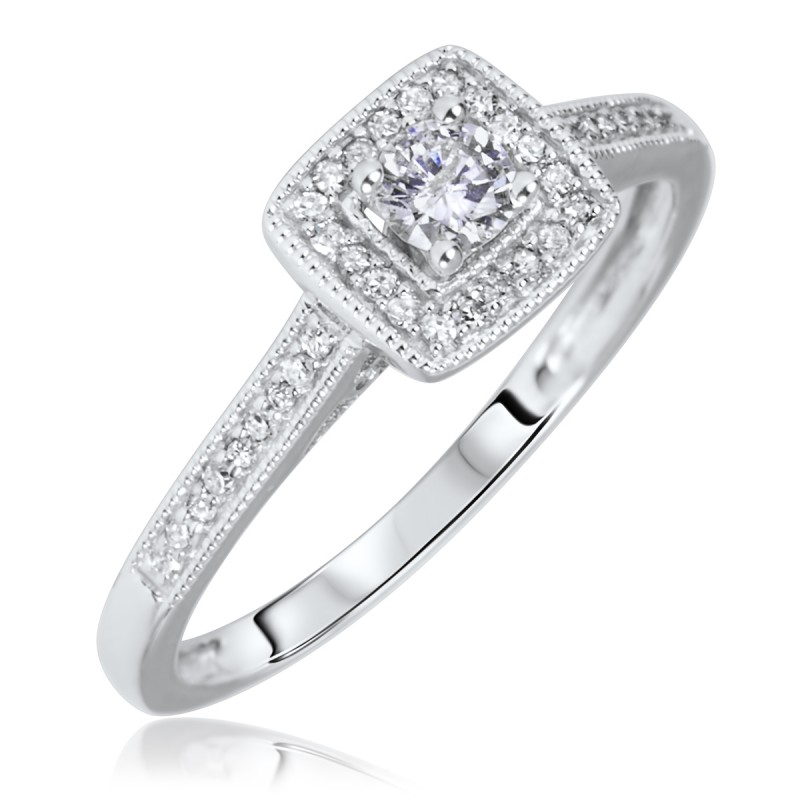 cb787858979 1 5 Carat T.W. Round Cut Diamond Ladies Engagement Ring 10K ...