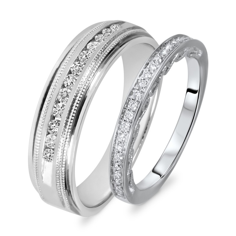 0577e984706 3 8 Carat T.W. Round Cut Diamond His And Hers Wedding Band Set ...