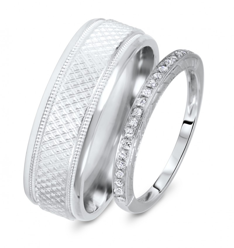 afebb79c698 1 8 Carat T.W. Rounds Cut Diamond His And Hers Wedding Band Set 14K ...