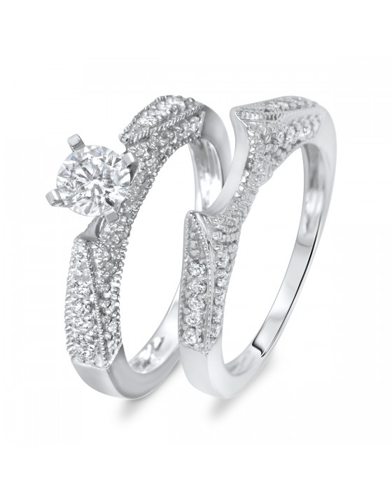 1 CT. T.W. Diamond Women's Bridal Wedding Ring Set 10K White Gold