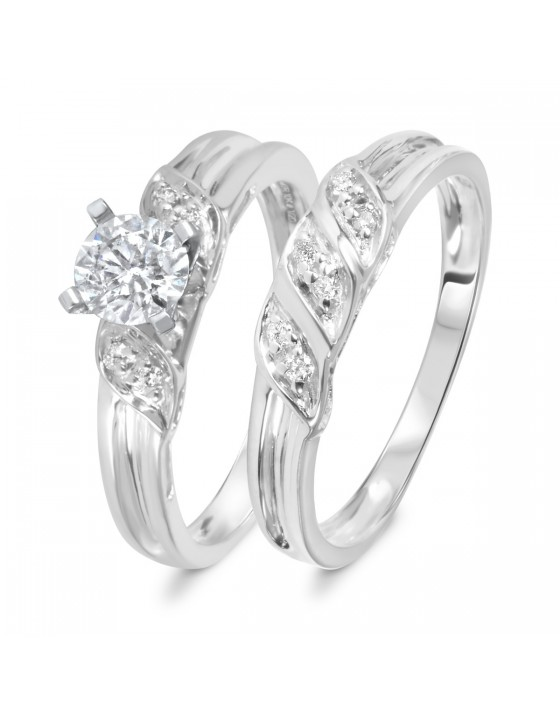 5/8 CT. T.W. Diamond Women's Bridal Wedding Ring Set 10K White Gold