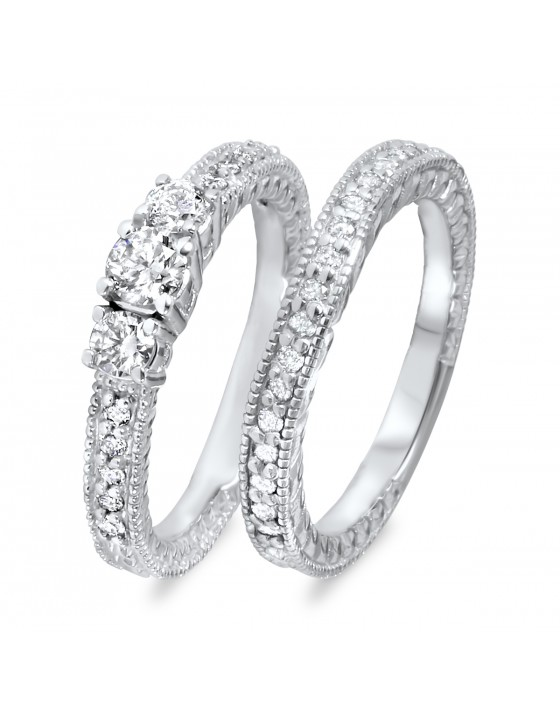 2/3 CT. T.W. Round Cut Diamond Ladies Bridal Wedding Ring Set 14K White Gold