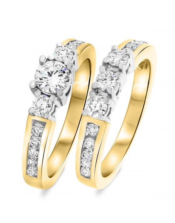 1 1/3 CT. T.W. Round Cut Diamond Ladies Bridal Wedding Ring Set 14K Yellow Gold