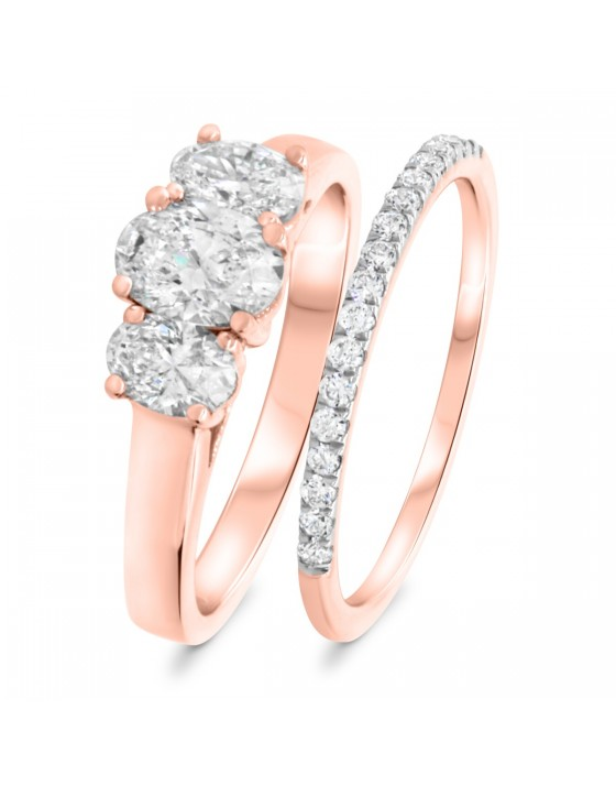 1 1/5 Carat T.W. Diamond Matching Bridal Ring Set 10K Rose Gold