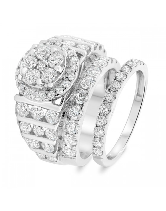 5 CT. T.W. Diamond Matching Bridal Ring Set 14K White Gold