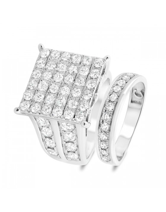 3 3/4 Carat T.W. Diamond Matching Bridal Ring Set 10K White Gold