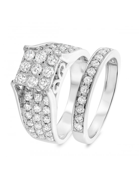 2 3/4 Carat T.W. Diamond Matching Bridal Ring Set 10K White Gold