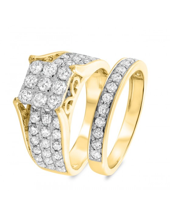 2 3/4 Carat T.W. Diamond Matching Bridal Ring Set 14K Yellow Gold
