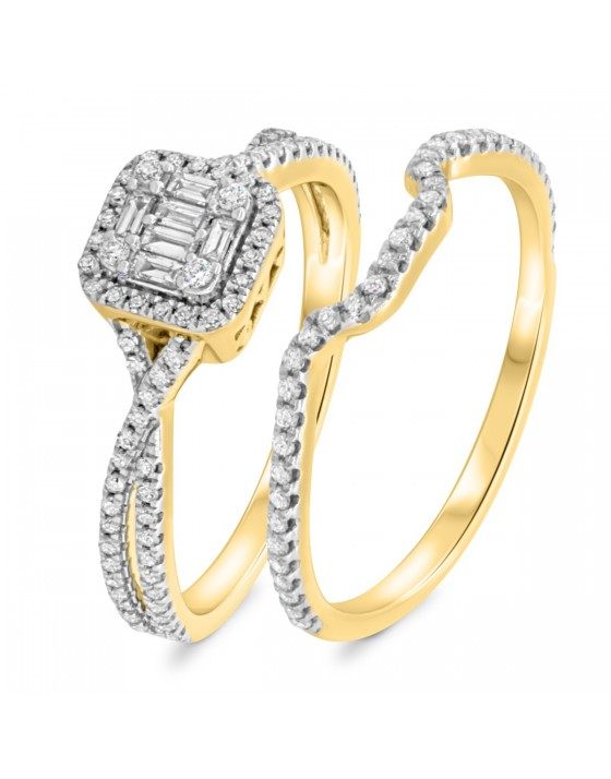3/4 Carat T.W. Diamond Matching Bridal Ring Set 14K Yellow Gold