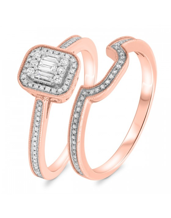3/8 Carat T.W. Diamond Matching Bridal Ring Set 10K Rose Gold