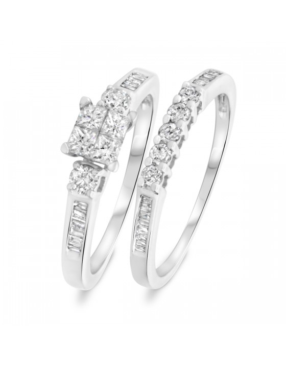 7/8 CT. T.W. Round, Princess Cut Diamond Ladies Bridal Ring Set 14K White Gold