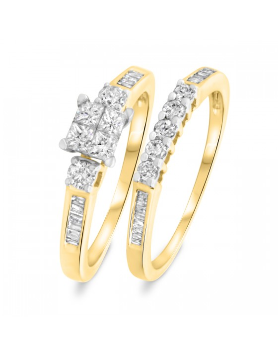 7/8 CT. T.W. Princess, Round Cut Diamond Ladies Bridal Ring Set 10K Yellow Gold