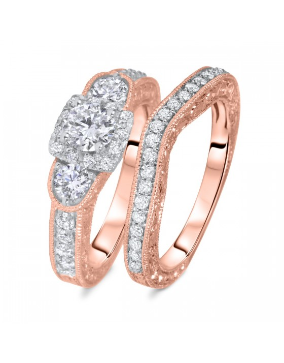 1 1/2 CT. T.W. Round Cut Diamond Ladies Bridal Wedding Ring Set 14K Rose Gold