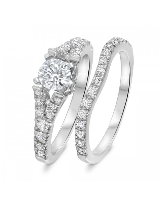 1 1/4 CT. T.W. Diamond Women's Bridal Wedding Ring Set 14K White Gold